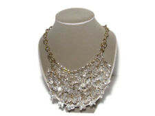 J.Crew Statement Necklace Clear Bead Double Strand Gold-Tone Chain Runway