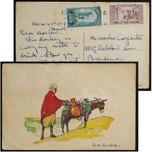 Edouard-Marcel Sandoz Man with mule postcard art print used at Marrakesh, c1920s