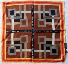 authentique foulard  tour de cou ETRO en soie  vintage scarf 45 cm x 45 cm /