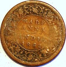 1/2 Anna 1862 Victoria India British KM# 468