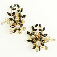 VINTAGE Black Clear Rhinestone Floral Spray STATEMENT CLIP ON Climber EARRING