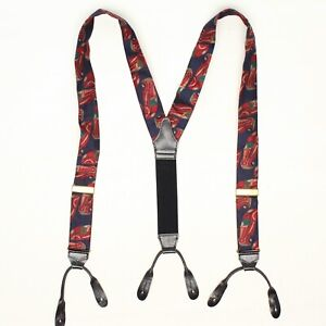 Thurston Mens Silk Braces Suspenders Blue Red Sports Car Convertable England