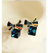 Royal Blue Crystal Earrings Rose Gold Plated Fashion Jewellery Bridesmaid GIFT A