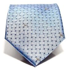 Authentic Burberry London Tie - Silver Blue Weave - Made in England - 100% Silk