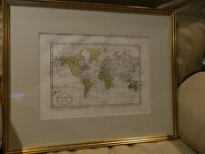New listing Framed 1820 Genuine Antique Hand Colored Map of the World Mappamondo Luigi Rossi