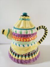"Vtg Cbk LtD. Llc Tassel Fun 8"" Teapot With Lid 1998 Colorful Great Condition"