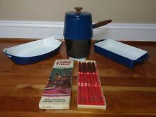 Copco Michael Lax Blue Enamelware Enamel Cast Iron Fondue Pot Pan Vtg MCM