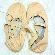 Bloch Ballet Shoes size 8.5 Womens Pink Leather Elastic Straps Split Sole Dance