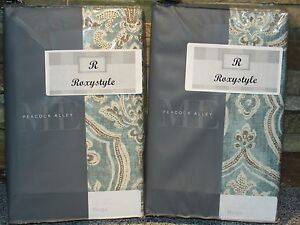 """ME by PEACOCK ALLEY """"BRAGA"""" Aquamarine TWO STANDARD/QUEEN PILLOW SHAMS New"""