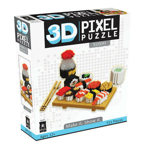 Bepuzzled 546pc+ 3D Pixel Puzzles/Building Blocks/Toys/Game Kids/Teen 12y+ Sushi