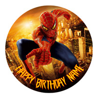 Spiderman Personalised Edible Birthday Party Cake Decoration Topper Round Image