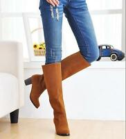 Retro Women's Knee High Boots Block Med Heel Knight Pull On Party Shoe Plus SIze