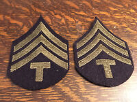 Pair Of WWII US ARMY Technician Fourth Grade T/4 Enlisted Rank PATCHES Felt