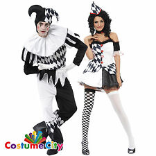 COPPIE Harlequin Jester MIME Clown Halloween Fancy Dress Party Costume