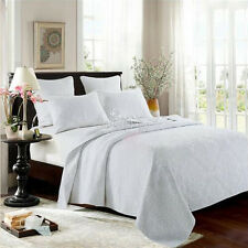 White Queen/King Size Bedspreads Set Patchwork Coverlet Quilted Throw Blanket