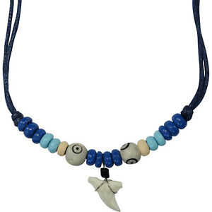 Shark Tooth Pendant Blue Cord Chain Wood Beads Surf Necklace Men Women Jewellery