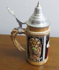 """Stein Made in Western Germany 6"""" Small Vintage Stein Hand Painted w/ Lid"""