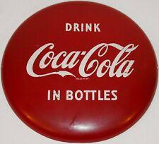 "Vintage metal sign COCA COLA IN BOTTLES round 12"" button Reg U S Pat Off exc+"