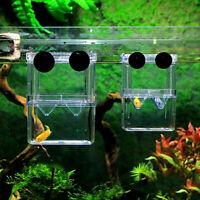 Aquarium Fish Tank Guppy Double Breeding Breeder Rearing Trap Hatchery Box E2R4