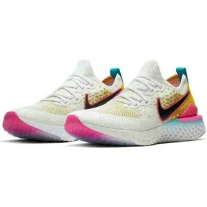 New Nike Men's Epic React Flyknit 2 White/Black/Pink Blast Running Shoes Size 13