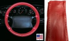 Red Genuine Leather Steering Wheel Cover AXX For Ford Lincoln & Other Makes