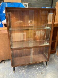 Vintage Mid Century Brown Wood Display Cabinet Sliding Glass Doors Dansette Legs