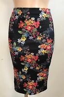 BLACK RED YELLOW  FLORAL CASUAL SMART PENCIL WIGGLE STRETCH MIDI SKIRT SIZE 8-18