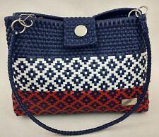 Artizanat Canasta Classic Shoulder Woven Bag Blue White Red Strap Handles