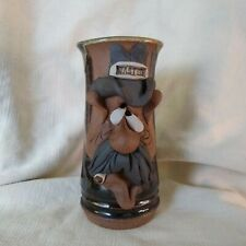 Mahon Made 3D Face Art Pottery Mug Tankard Wasted Signed Man w/ Mustache Cowboy