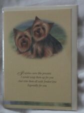 YORKSHIRE  TERRIER CARD two dogs with verse