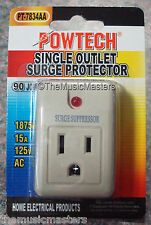 Single Outlet AC Wall Plug Surge Protector Power Suppressor 90 Joules 1875W 15A