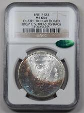1881-S Morgan Dollar NGC  MS64* CAC PQ monster neon rainbow Rev. Olathe hoard