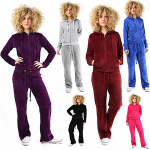 New Womens Ladies Velour Full Tracksuit Jogging HOODED Sport Gym Plus Sizes 8-24