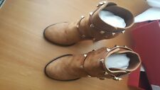 Valentino NIB $1375 Garavani Rockstud Chunky Heel Boot Suede Tan EU 38.5