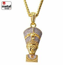 "Men's 14k Gold Plated Hip Hop Egyptian Pharaoh Pendant 30"" Cuban Chain Mmp 97 Gs"