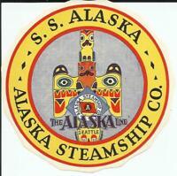 Alaska Steamship Company SS Alaska Vintage Gummed Luggage Label