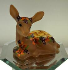 Fenton DEER FAWN REDUCED Brown Airbrushed FESTIVE FALL FLORAL * OOAK FREEusaSHP