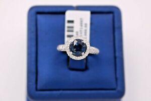 Platinum 3.00 CT Sapphire & Diamond Ladies Halo Ring, 6.9gm, Size 5.25, S105340