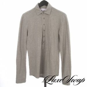 Orlebar Brown Made in Portugal Heather Grey Pique Plunging Neck Polo Shirt S NR