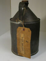 Rare Eastern Drug Co Fulton St Boston Ma Empty Metal Jug w/ Crude Petroleum tag