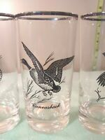 Federal Glass  Silver Rim Wild Game Birds  Canadian Goose 3 Glasses Vintage