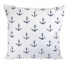 Nautical Anchor Design Zipped Cover Filled Cushion Coastal Seaside 14 x 14""