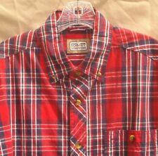Men Sz M Schmidt Workwear Red Plaid Cotton Long Sleeve Button Shirt - Pen Pocket