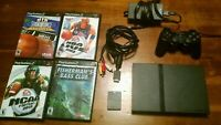 SONY PLAYSTATION 2 PS2 SLIM CONSOLE SYSTEM BUNDLE: Controller Memory Card, Games
