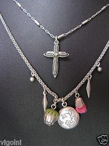 AYALA BAR NECKLACE CROSS LOCKET INDIGO SWAROVSKI CRYSTALS BEADS Gift Easter