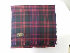 AUSTRAILIAN WOOL RED BLUE AND GREEN PLAID SCARF W/ FRINGE MADE IN USA GUC