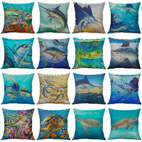 18'' Fish Print Pillow Case Cotton Linen Sofa Car Throw Cushion Cover Home Decor