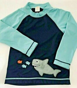 GYMBOREE 4T Aqua Blue Navy RASH GUARD Swim Top Long Sleeves Friendly Shark Fish