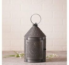 Country Tinware Electric Fireside Lantern with Chisle in Blackened Tin