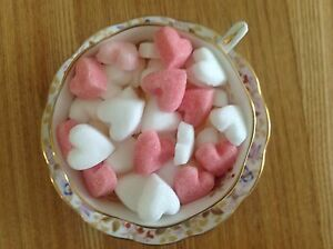 100 PINK /WHITE HEARTS SHAPED SUGAR CUBES FOR SPECIAL  OCCASIONS